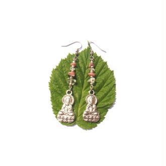 Boucles Oreilles Bouddha, Cristal de Roche, Rhodoscrosite 7,2 CM