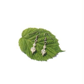 Boucles Oreilles Cristal de Roche Craquelé 4 CM de hauteur