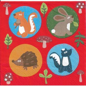 4 Serviettes en papier Animaux de la Forêt Format Lunch