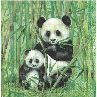 4 Serviettes en papier Panda Bambou Format Lunch
