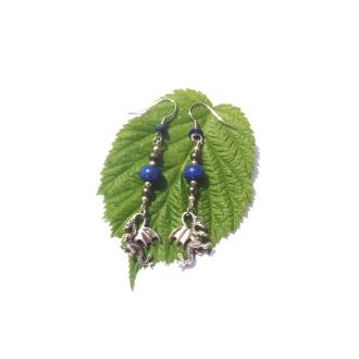 Lapis Lazuli, Pyrite, Breloque Dragon : Boucles Oreilles  6,7 CM de hauteur