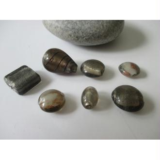 Lot de 7 perles en verre Murano ton gris