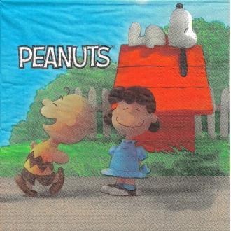 4 Serviettes en papier Peanuts Charlie Brown Snoopy Format Lunch
