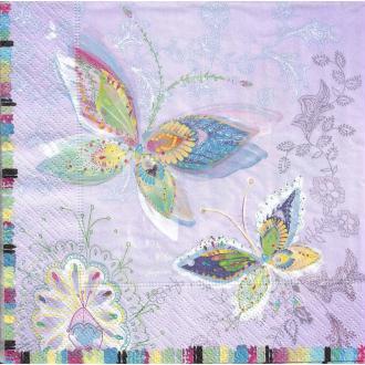 4 Serviettes en papier Papillons Lune d'argent Format Lunch
