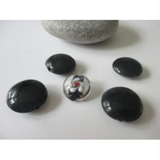 Lot de 7 perles de verre MURANO ton noir