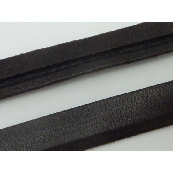 LOT de 50CM 2mm 0,5M FIL LACET CORDON PLAT vrai CUIR NOIR larg 10mm épaiss