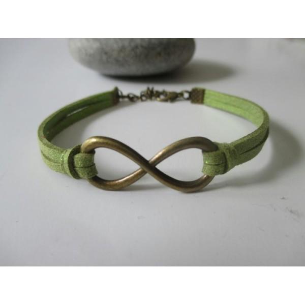 Kit bracelet suédine vert paillette et lien infini bronze - Photo n°1