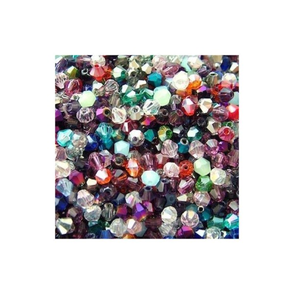 100 Perles intercalaire en verre cristal toupie couleur mixte 4 x 4 mm - Photo n°1