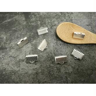 Fermoirs griffes argentés, Embouts attache ruban à serrer, 10 mm, 20 pcs