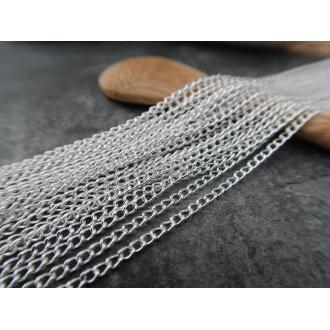 Chaine fine argenté au métre, chaine en métal argenté, chaine au mètre, 3x2.2 mm