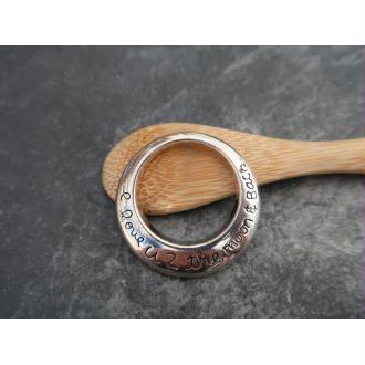 Pendentifs anneaux  rond message amour en métal argenté, 30 mm, 1 pc