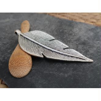 Pendentifs grandes plumes argentées en métal argenté, 89x35 mm, 1 pc