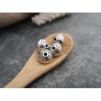 Grandes perles soucoupes ethnique géométrique argenté, 10x8 mm, 5 pcs
