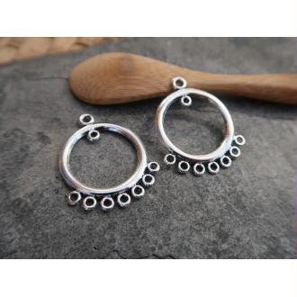 Connecteurs boucles d'oreille, Chandeliers créoles métal argenté, 32x24 mm, 2 pcs