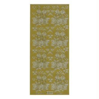 1 planche de stickers autocollants peel off doré BOUGIE NOEL 862