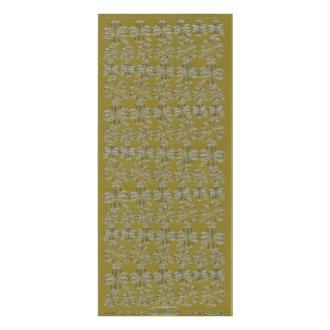 1 planche de stickers autocollants peel off doré TREFLE 102