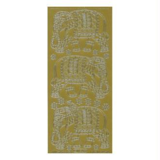 1 planche de stickers autocollants peel off doré ELEPHANT TAILHANDE 1154