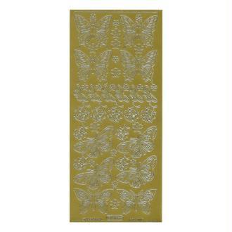 1 planche de stickers autocollants peel off doré PAPILLON COCCINELLE 818