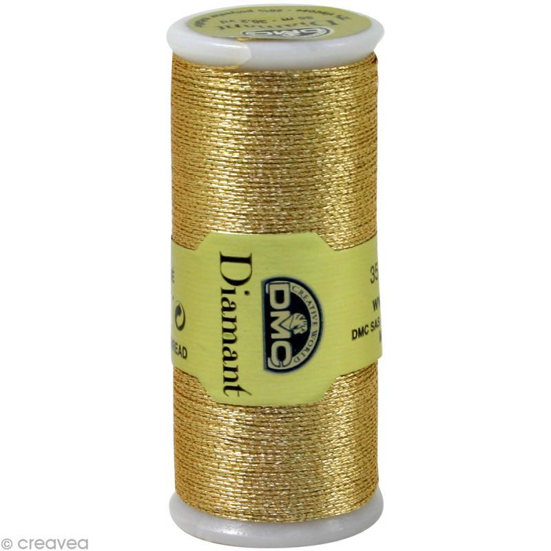 Fil à broder Diamant - Or clair métallisé D3821 DMC - 35 m - Photo n°1