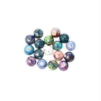 20 Perles en Céramique Rond Couleur mixte 10 mm