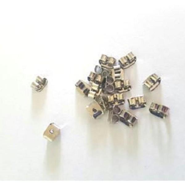 20 Embouts poussoirs en métal pour boucles d'oreilles - Photo n°1