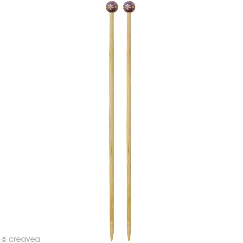 Aiguille à tricoter bambou - 8 mm - 1 paire - Photo n°1