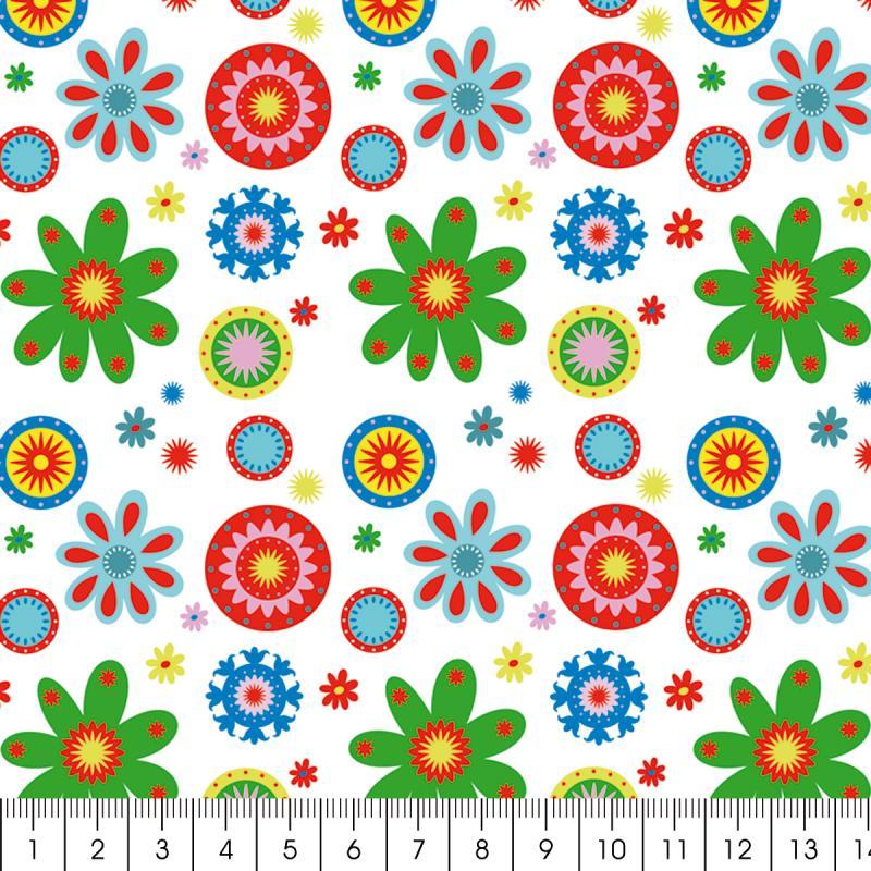 Tissu Artemio - Kids Jardin fleuri fond blanc - A la coupe par 10 cm (sur mesure) - Photo n°2