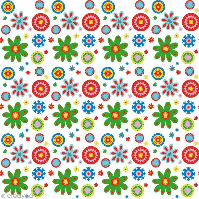 Tissu Artemio - Kids Jardin fleuri fond blanc - A la coupe par 10 cm (sur mesure) - Photo n°1