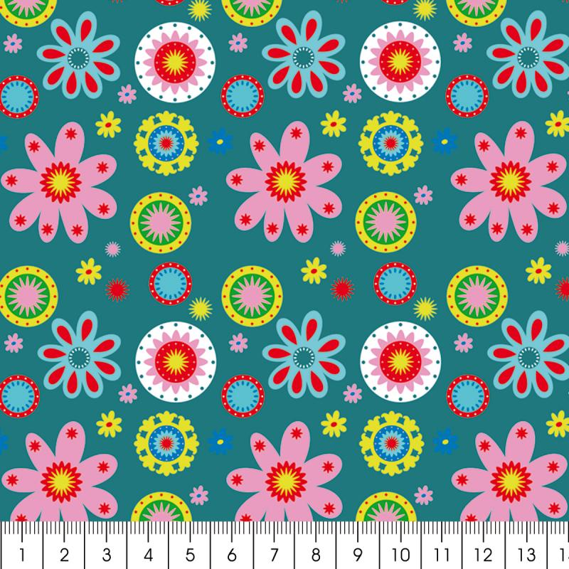Tissu Artemio - Kids Jardin fleuri fond turquoise - A la coupe par 10 cm (sur mesure) - Photo n°2