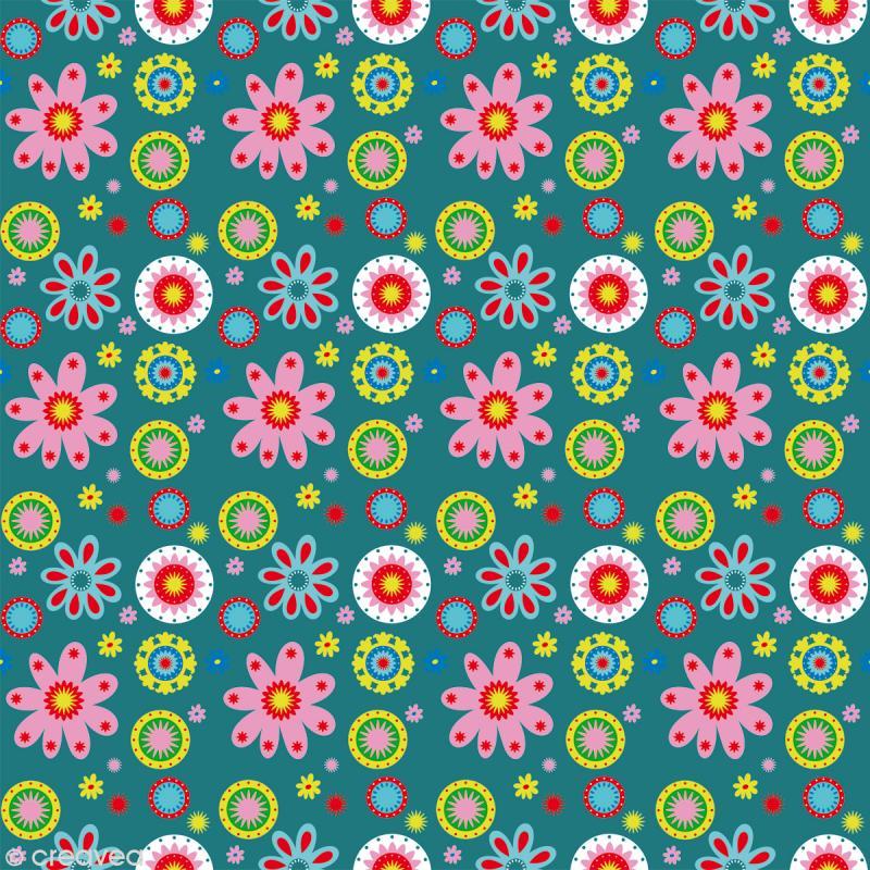 Tissu Artemio - Kids Jardin fleuri fond turquoise - A la coupe par 10 cm (sur mesure) - Photo n°1