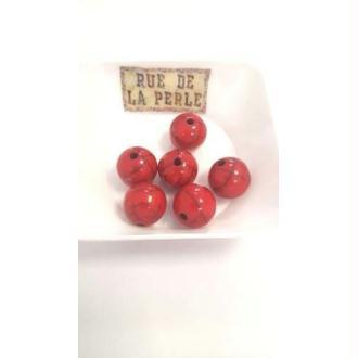 6 Perles résine effet craquelé - 14mm rouge