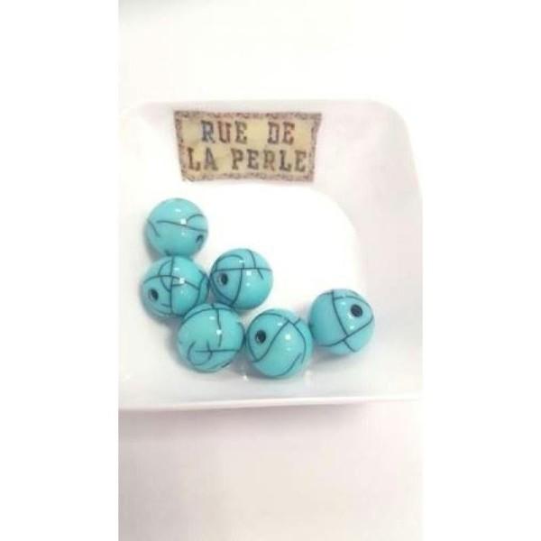 6 Perles résine effet craquelé - 14mm turquoise - Photo n°1