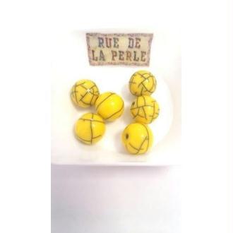 6 Perles résine effet craquelé - 14mm jaune