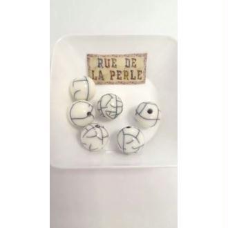 6 Perles résine effet craquelé - 14mm blanc