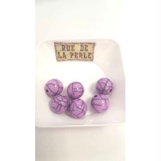 6 Perles résine effet craquelé - 14mm mauve