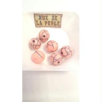 6 Perles résine effet craquelé - 14mm rose