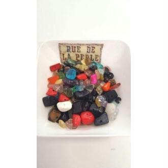 30g Chips mélange de pierres gemmes , percées - perles gemmes