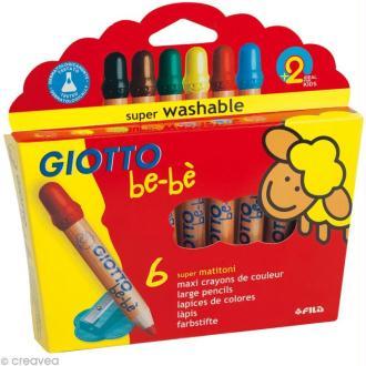 Crayons GIOTTO bébé - Étui de 6 Maxi crayons de couleur