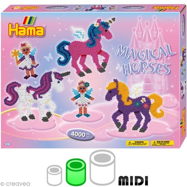 Perles Hama midi diam. 5 mm - Coffret Les chevaux magiques x 4000 - Photo n°1