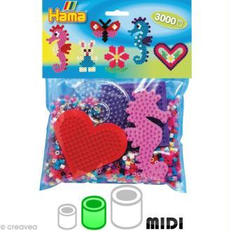 Kit Perles Hama midi + plaques coeur, ronde, carrée, hippocampe
