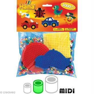 Kit Perles Hama midi + plaques ronde, hexagonale, carrée, voiture