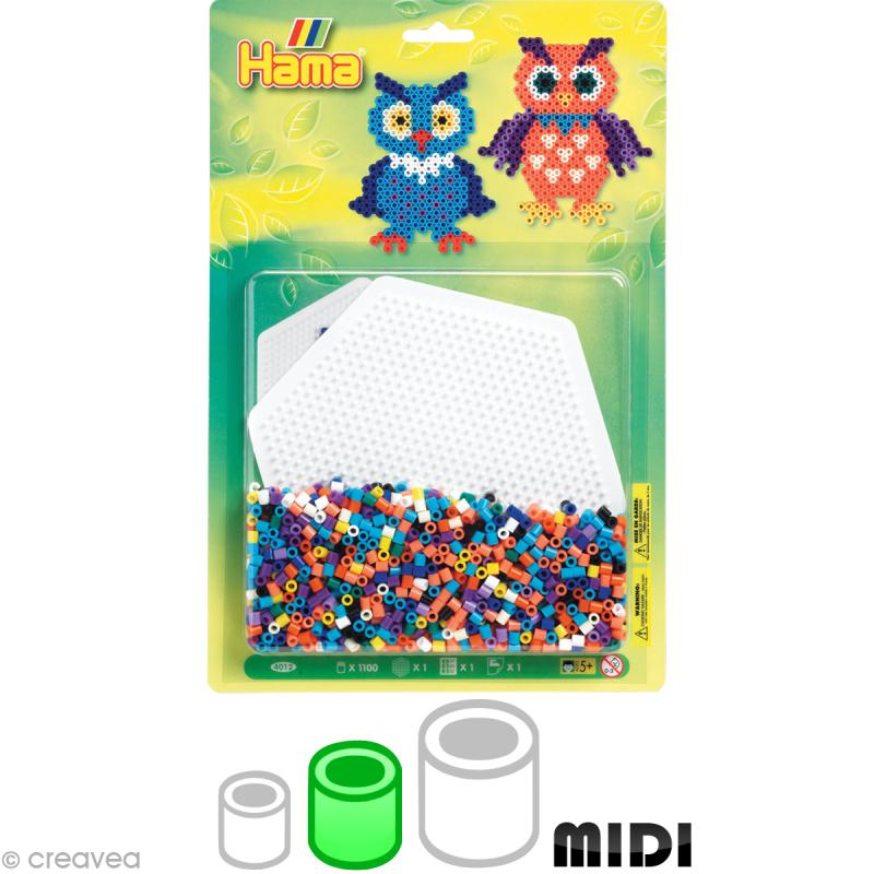 Kit Perles Hama midi diam. 5 mm - Chouette x 1100 - Photo n°1