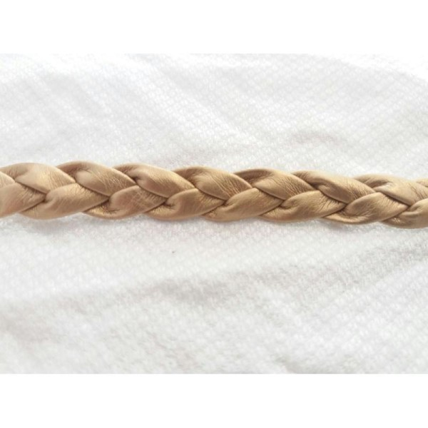 Cordon tressé en simili cuir 10mm - doré - vendu au mètre - Photo n°1