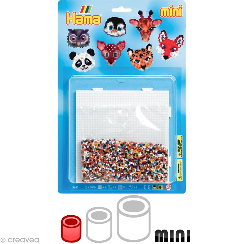 Kit Perles Hama mini diam. 2,5 mm - Animaux sauvages x 5000 - Photo n°1