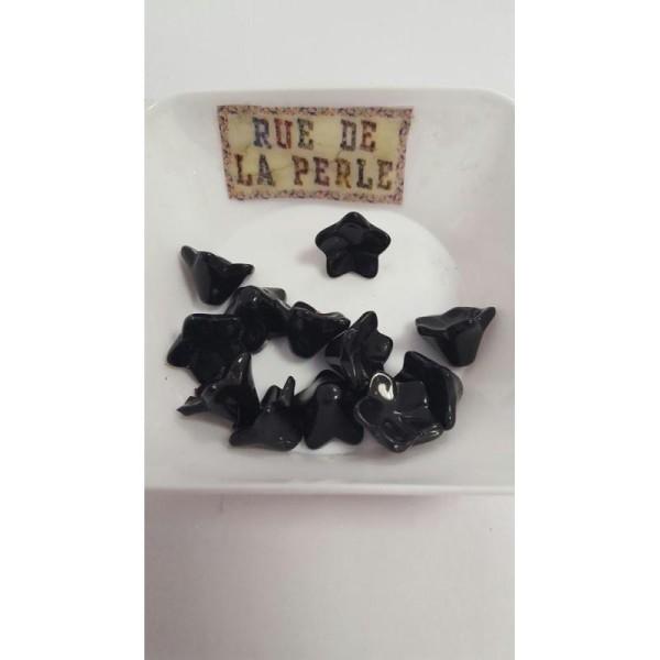 12 Perles en verre noir , forme fleur , 13x10mm - Photo n°1