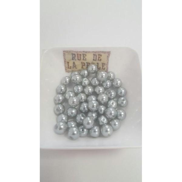 45 Perles en verre nacrées gris - 8mm - Photo n°1