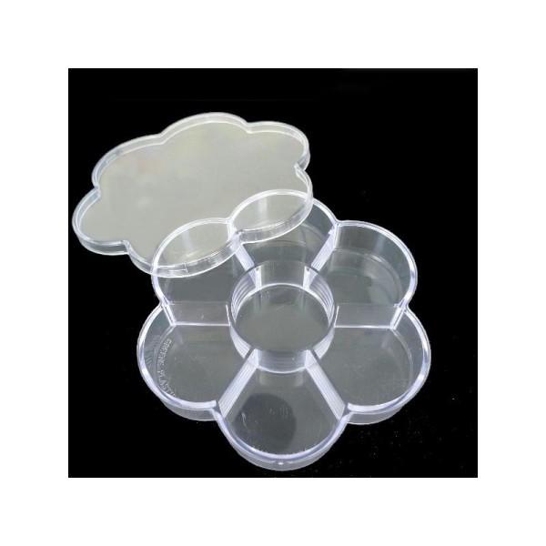 Boîte en plastique en forme de fleur à 7 cases (140 x 120 x 25 mm) - Photo n°1