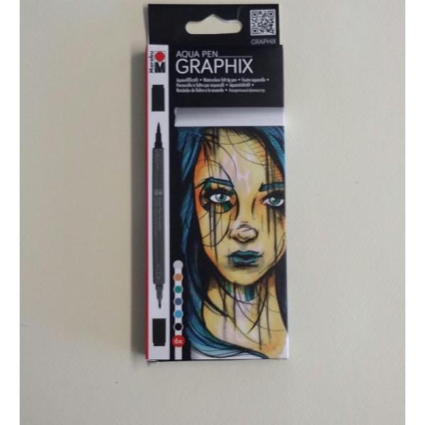 6 Feutres aquarelle Graphix - Photo n°2