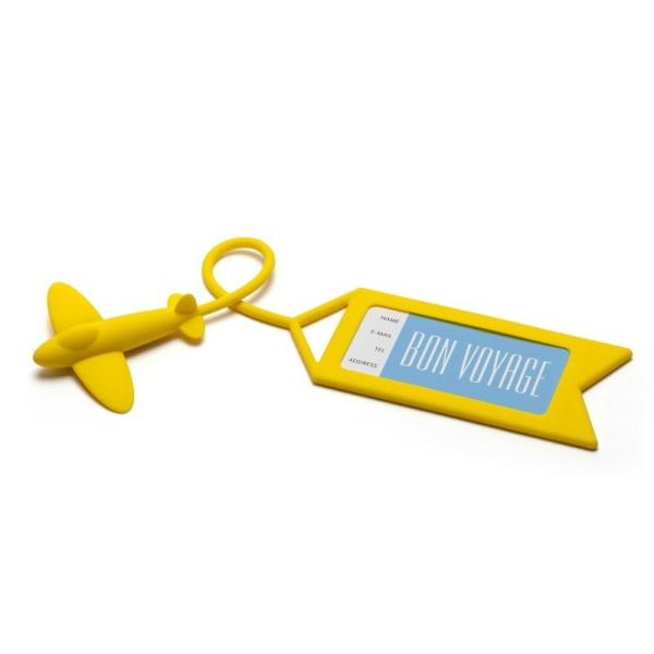 Etiquette à bagage Avion jaune - Photo n°1