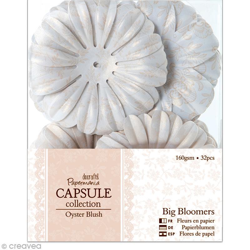 Fleur en papier Papermania - Oyster blush - 32 pièces - Photo n°1
